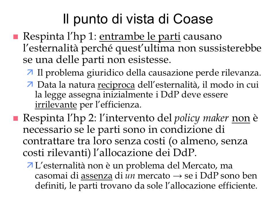 Il punto di vista di Coase n Respinta lhp 1: entrambe le parti causano lesternalità perché questultima non sussisterebbe se una delle parti non esiste