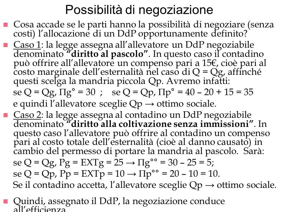 Possibilità di negoziazione n Cosa accade se le parti hanno la possibilità di negoziare (senza costi) lallocazione di un DdP opportunamente definito?