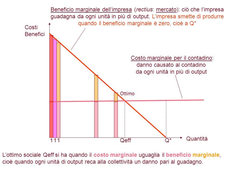 Q*Qeff Beneficio marginale dellimpresa (rectius: mercato): ciò che limpresa guadagna da ogni unità in più di output. Limpresa smette di produrre quand