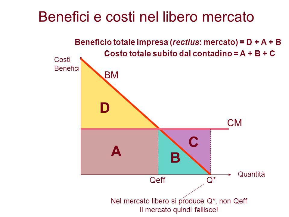 Q*Qeff A B C D BM CM Costi Benefici Quantità Beneficio totale impresa (rectius: mercato) = D + A + B Costo totale subito dal contadino = A + B + C Ben