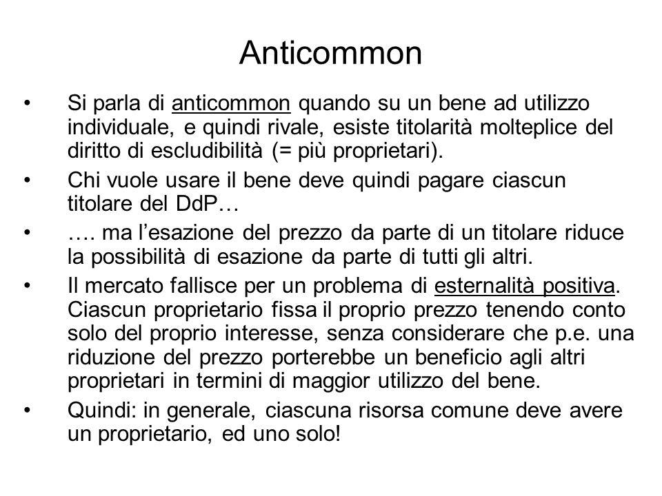Anticommon Si parla di anticommon quando su un bene ad utilizzo individuale, e quindi rivale, esiste titolarità molteplice del diritto di escludibilit