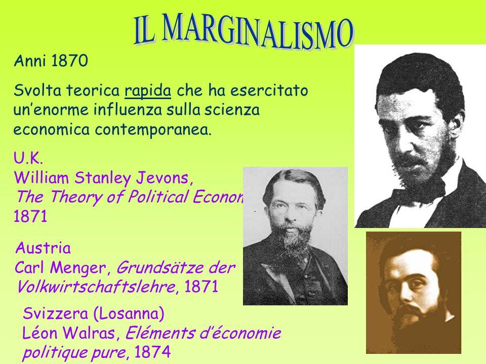 Anni 1870 Svolta teorica rapida che ha esercitato unenorme influenza sulla scienza economica contemporanea.