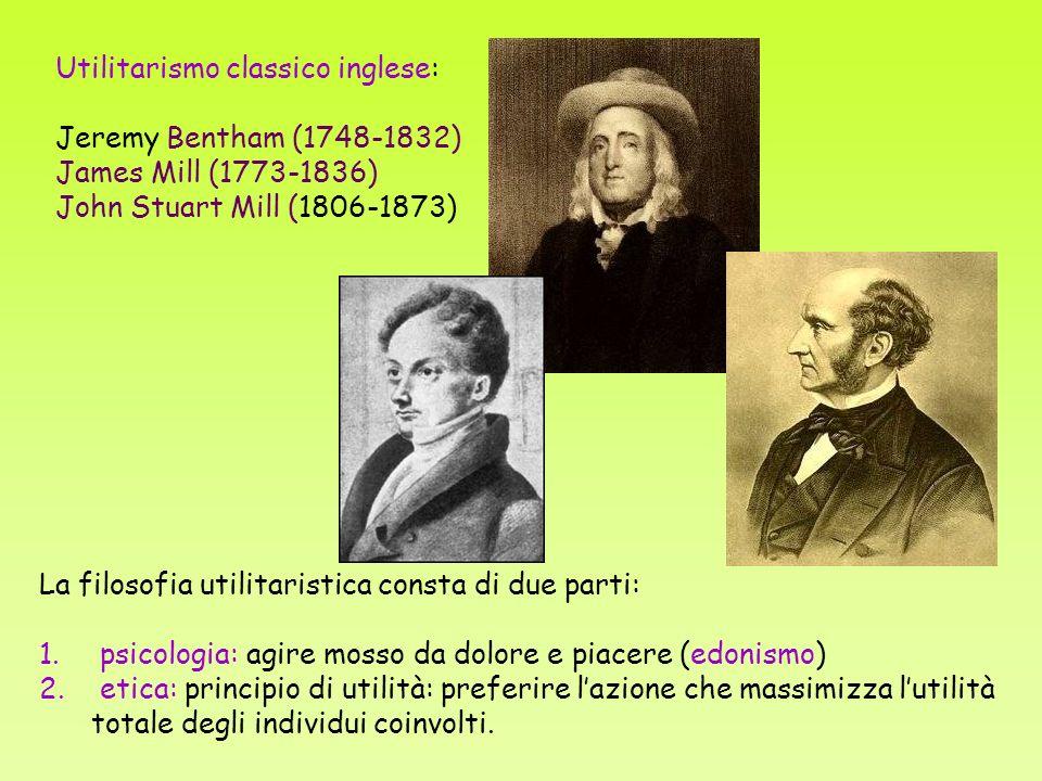 Utilitarismo classico inglese: Jeremy Bentham (1748-1832) James Mill (1773-1836) John Stuart Mill (1806-1873) La filosofia utilitaristica consta di due parti: 1.