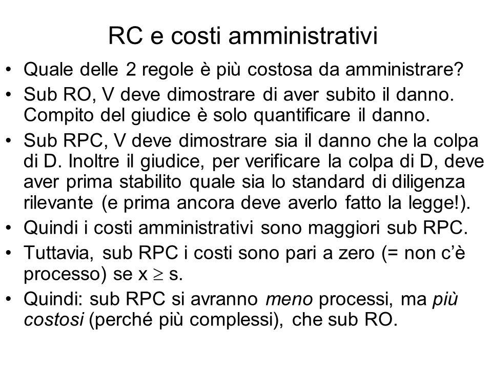 RC e costi amministrativi Quale delle 2 regole è più costosa da amministrare.