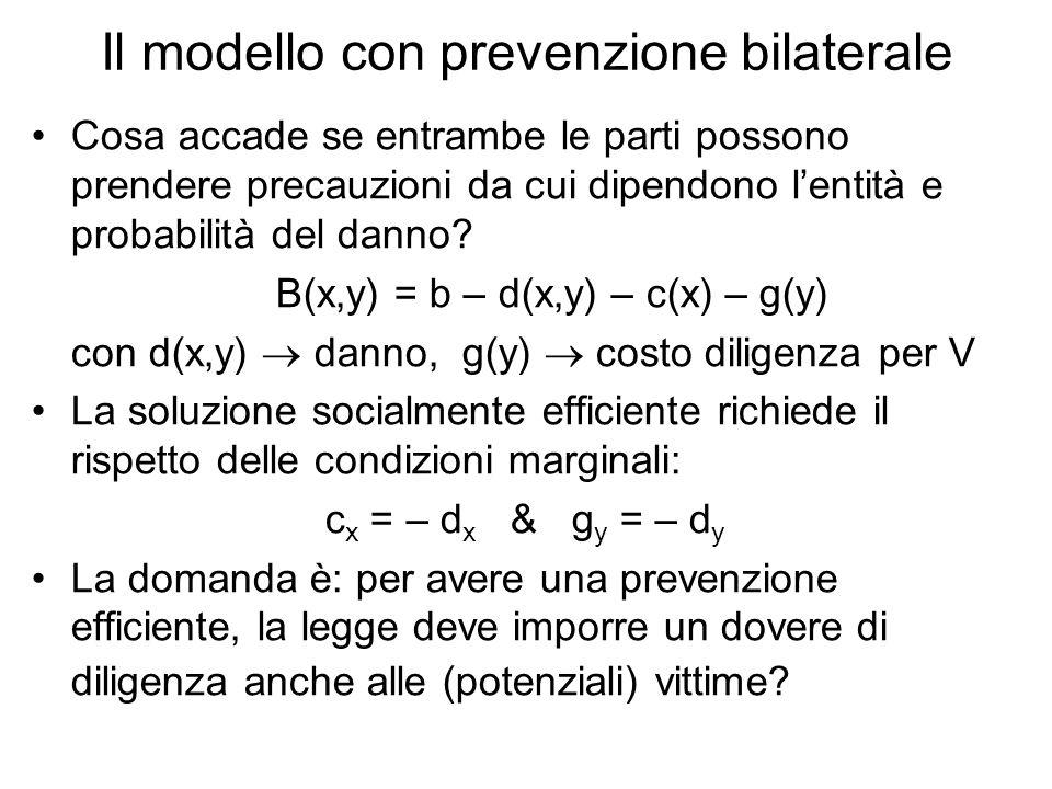 Il modello con prevenzione bilaterale Cosa accade se entrambe le parti possono prendere precauzioni da cui dipendono lentità e probabilità del danno.