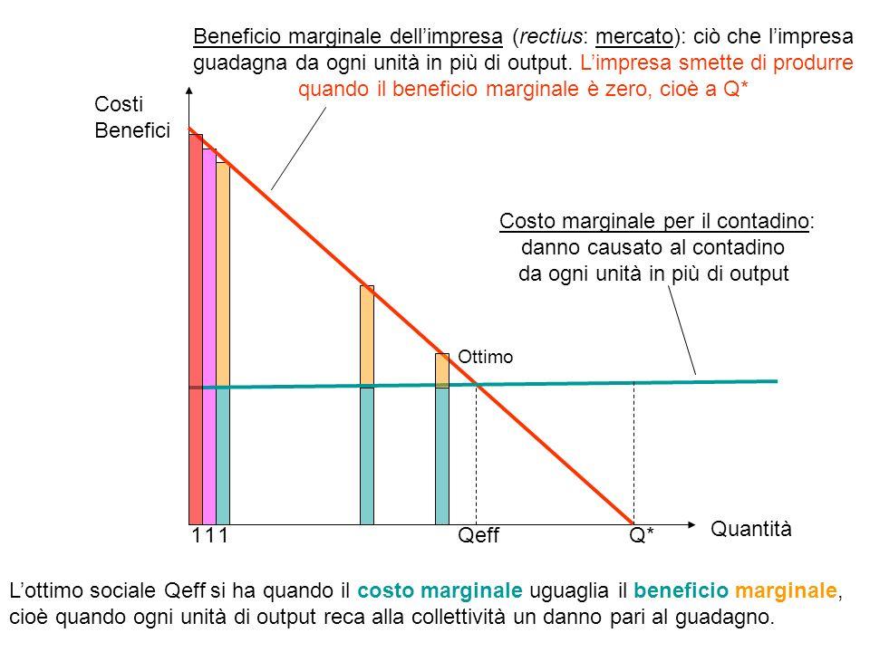 Q*Qeff Beneficio marginale dellimpresa (rectius: mercato): ciò che limpresa guadagna da ogni unità in più di output.