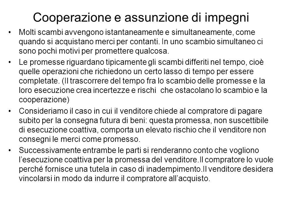 Cooperazione e assunzione di impegni Molti scambi avvengono istantaneamente e simultaneamente, come quando si acquistano merci per contanti.