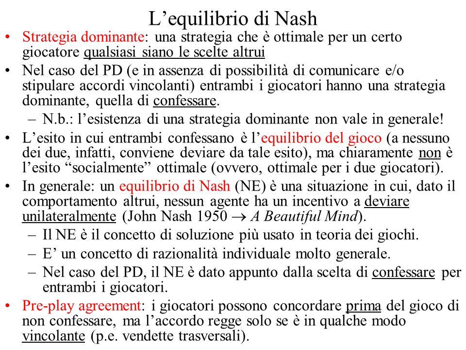 Lequilibrio di Nash Strategia dominante: una strategia che è ottimale per un certo giocatore qualsiasi siano le scelte altrui Nel caso del PD (e in as