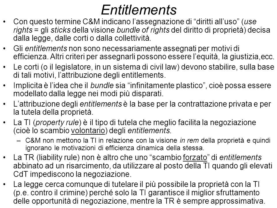 Entitlements Con questo termine C&M indicano lassegnazione di diritti alluso (use rights = gli sticks della visione bundle of rights del diritto di pr