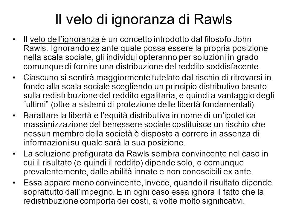Il velo di ignoranza di Rawls Il velo dellignoranza è un concetto introdotto dal filosofo John Rawls. Ignorando ex ante quale possa essere la propria