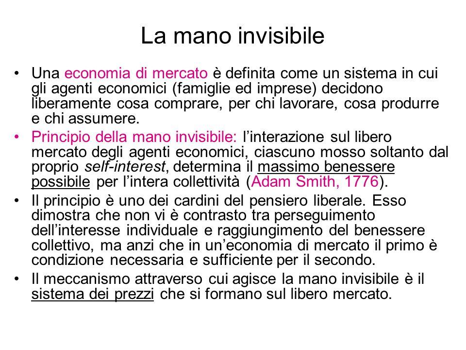 La mano invisibile Una economia di mercato è definita come un sistema in cui gli agenti economici (famiglie ed imprese) decidono liberamente cosa comp