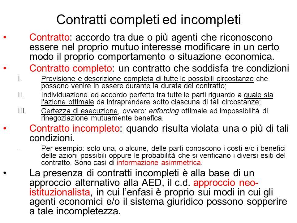 Contratti completi ed incompleti Contratto: accordo tra due o più agenti che riconoscono essere nel proprio mutuo interesse modificare in un certo mod