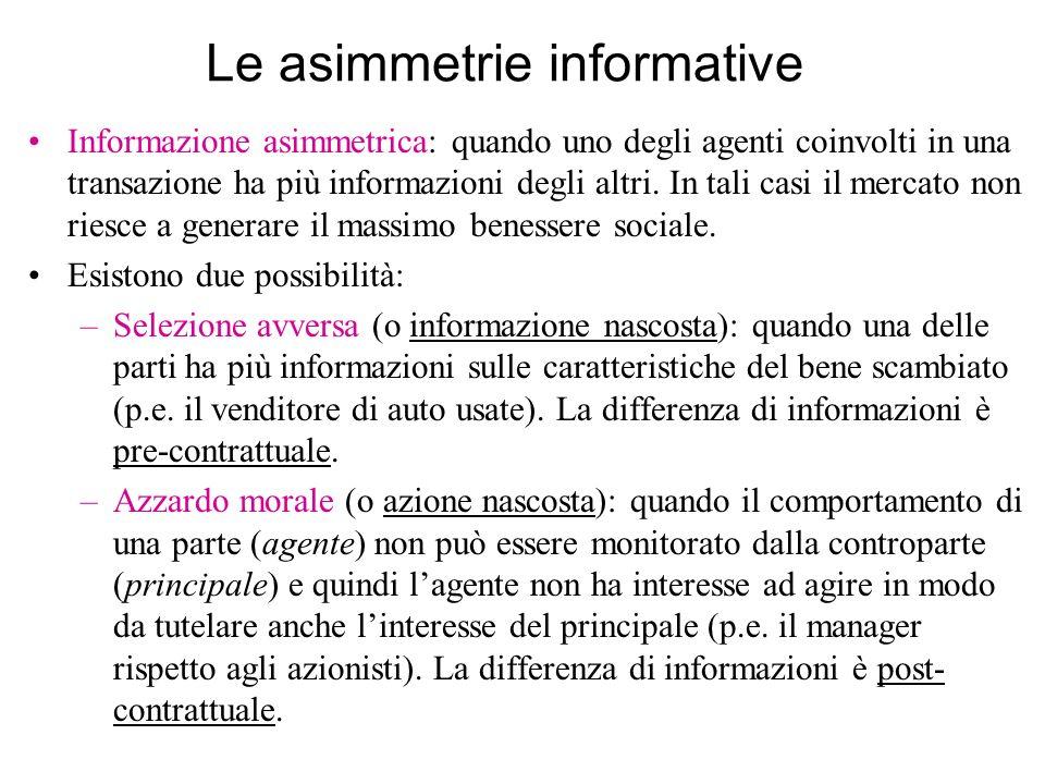 Le asimmetrie informative Informazione asimmetrica: quando uno degli agenti coinvolti in una transazione ha più informazioni degli altri. In tali casi