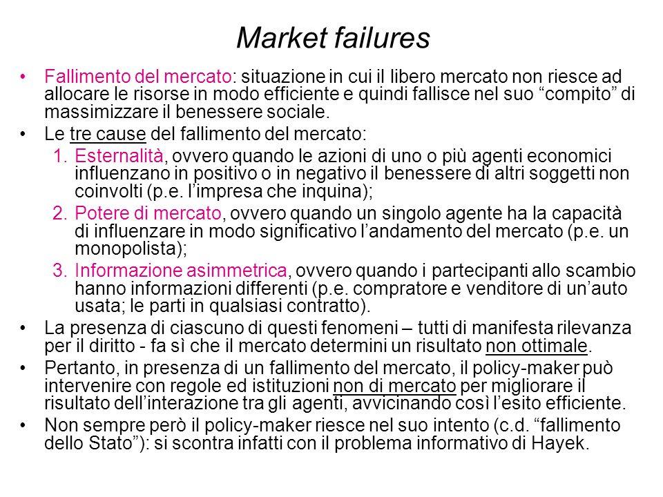 Market failures Fallimento del mercato: situazione in cui il libero mercato non riesce ad allocare le risorse in modo efficiente e quindi fallisce nel