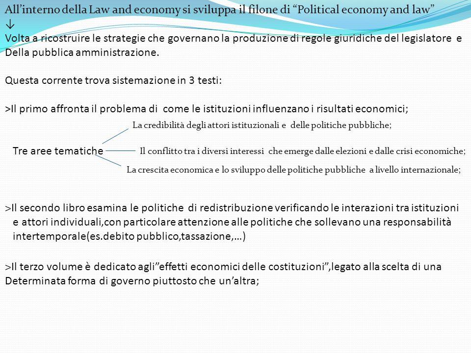 Allinterno della Law and economy si sviluppa il filone di Political economy and law Volta a ricostruire le strategie che governano la produzione di re