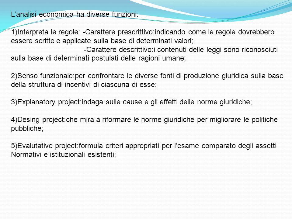 Lanalisi economica ha diverse funzioni: 1)Interpreta le regole: -Carattere prescrittivo:indicando come le regole dovrebbero essere scritte e applicate