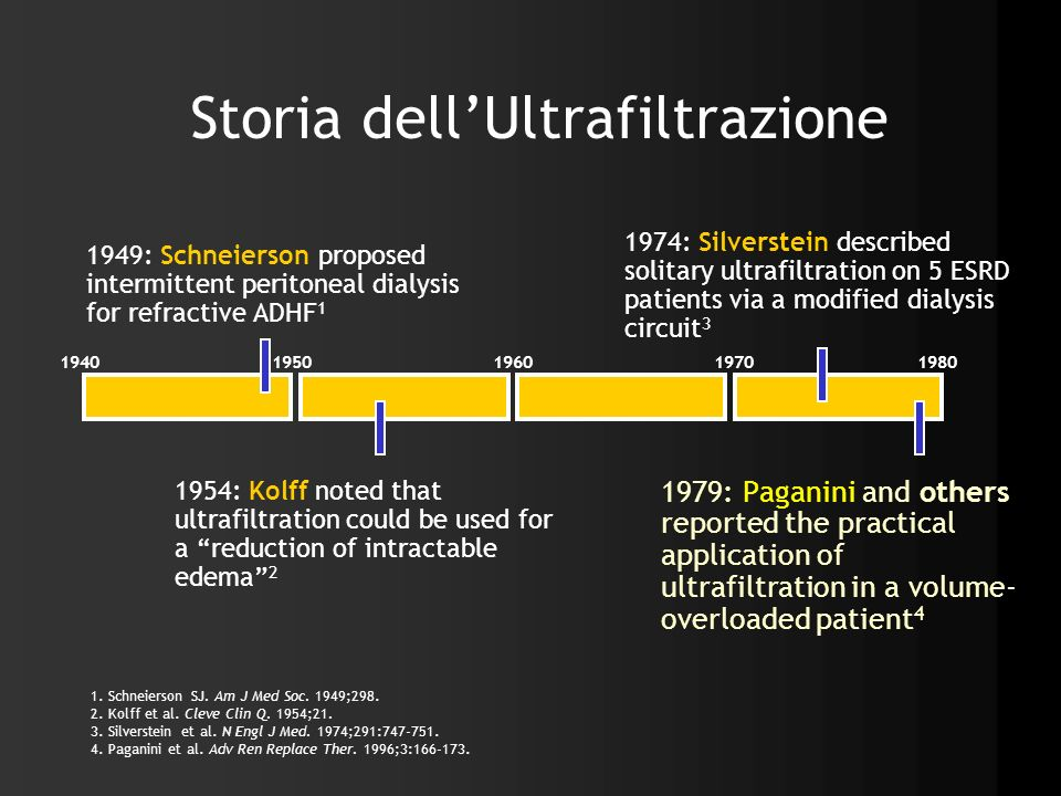 Storia dellUltrafiltrazione 1979: Paganini and others reported the practical application of ultrafiltration in a volume- overloaded patient 4 1. Schne