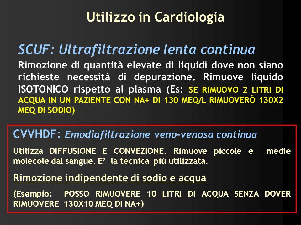 Utilizzo in Cardiologia SCUF: Ultrafiltrazione lenta continua Rimozione di quantità elevate di liquidi dove non siano richieste necessità di depurazio
