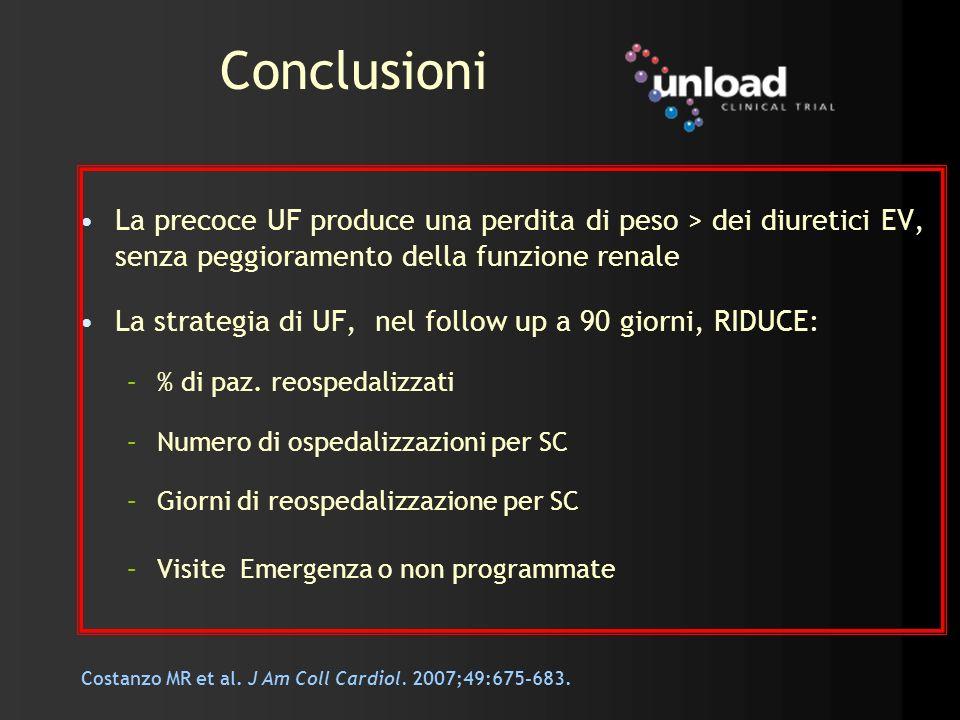 Conclusioni La precoce UF produce una perdita di peso > dei diuretici EV, senza peggioramento della funzione renale La strategia di UF, nel follow up