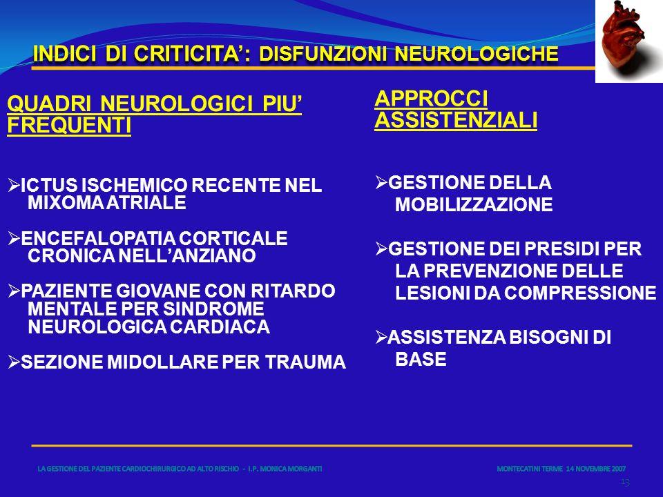 INDICI DI CRITICITA: DISFUNZIONI NEUROLOGICHE 13 QUADRI NEUROLOGICI PIU FREQUENTI ICTUS ISCHEMICO RECENTE NEL MIXOMA ATRIALE ENCEFALOPATIA CORTICALE C