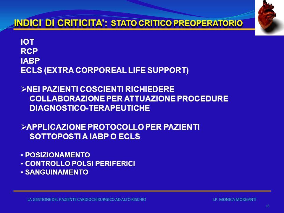 16 INDICI DI CRITICITA: STATO CRITICO PREOPERATORIO IOT RCP IABP ECLS (EXTRA CORPOREAL LIFE SUPPORT) NEI PAZIENTI COSCIENTI RICHIEDERE COLLABORAZIONE