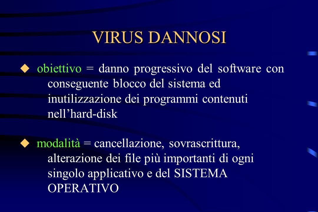VIRUS DANNOSI obiettivo = danno progressivo del software con conseguente blocco del sistema ed inutilizzazione dei programmi contenuti nellhard-disk m