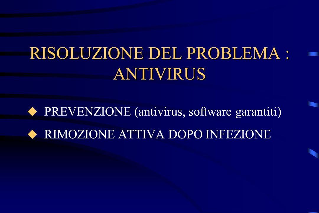 RISOLUZIONE DEL PROBLEMA : ANTIVIRUS PREVENZIONE (antivirus, software garantiti) RIMOZIONE ATTIVA DOPO INFEZIONE