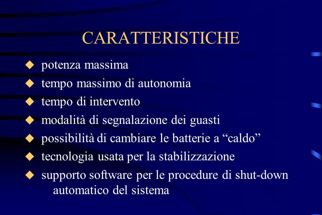 CARATTERISTICHE potenza massima tempo massimo di autonomia tempo di intervento modalità di segnalazione dei guasti possibilità di cambiare le batterie