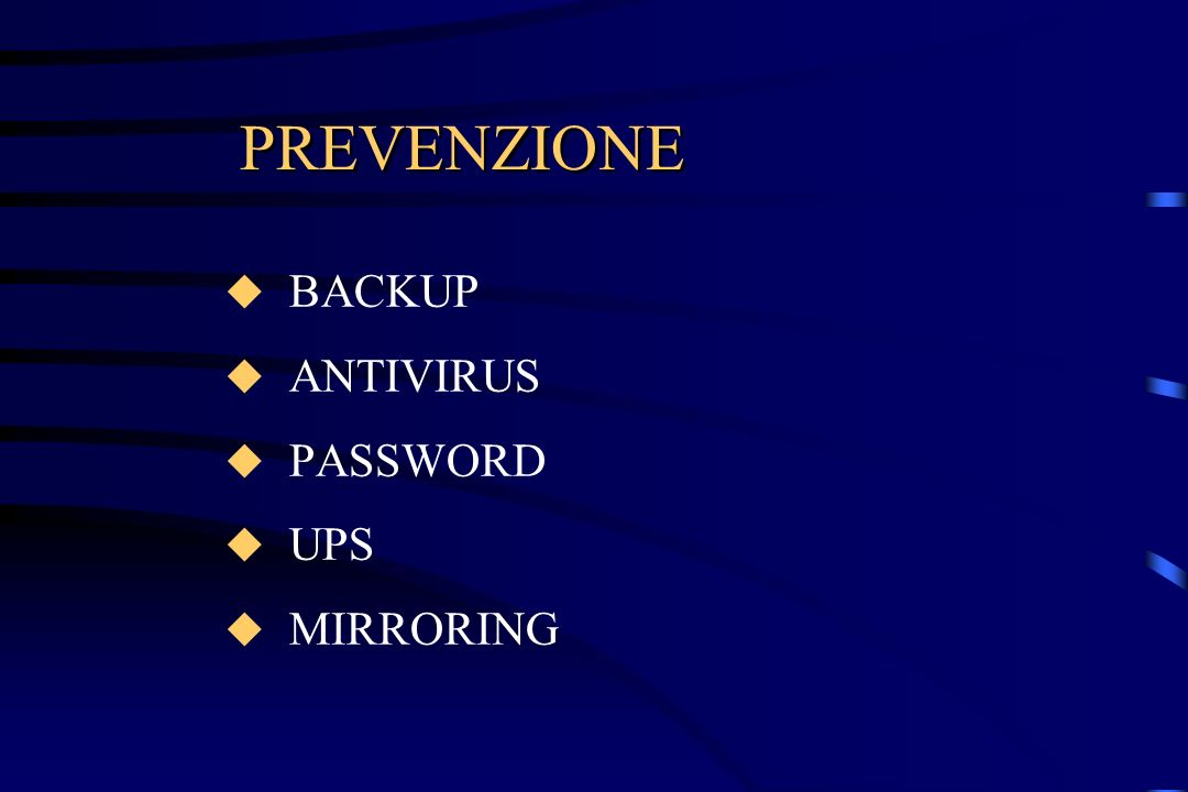 PREVENZIONE BACKUP ANTIVIRUS PASSWORD UPS MIRRORING