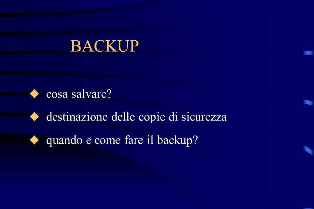 BACKUP cosa salvare? destinazione delle copie di sicurezza quando e come fare il backup?
