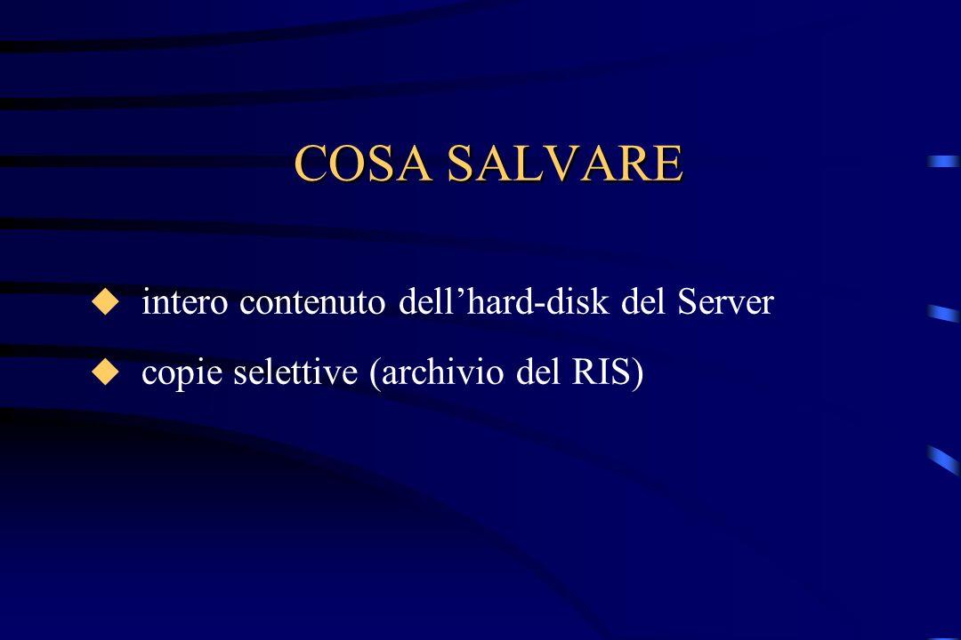 DESTINAZIONE DEL BACKUP floppy hard-disk unità nastro, DAT dischi magneto-ottici CD-Rom