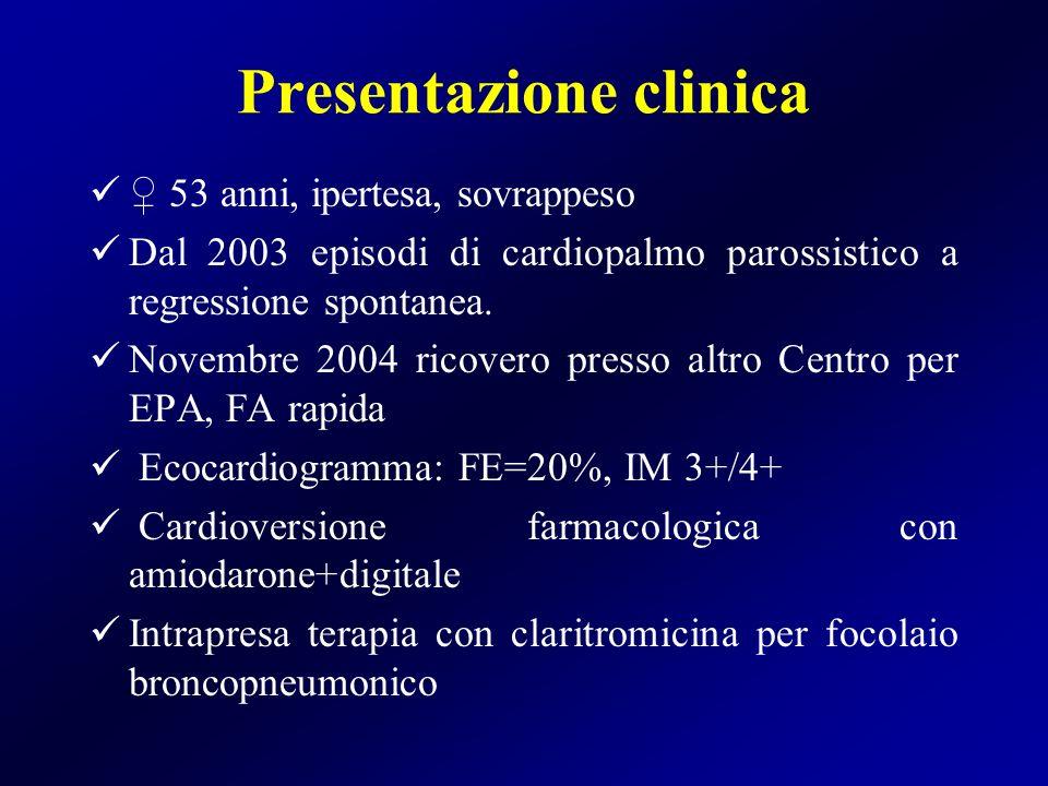 Presentazione clinica 53 anni, ipertesa, sovrappeso Dal 2003 episodi di cardiopalmo parossistico a regressione spontanea. Novembre 2004 ricovero press