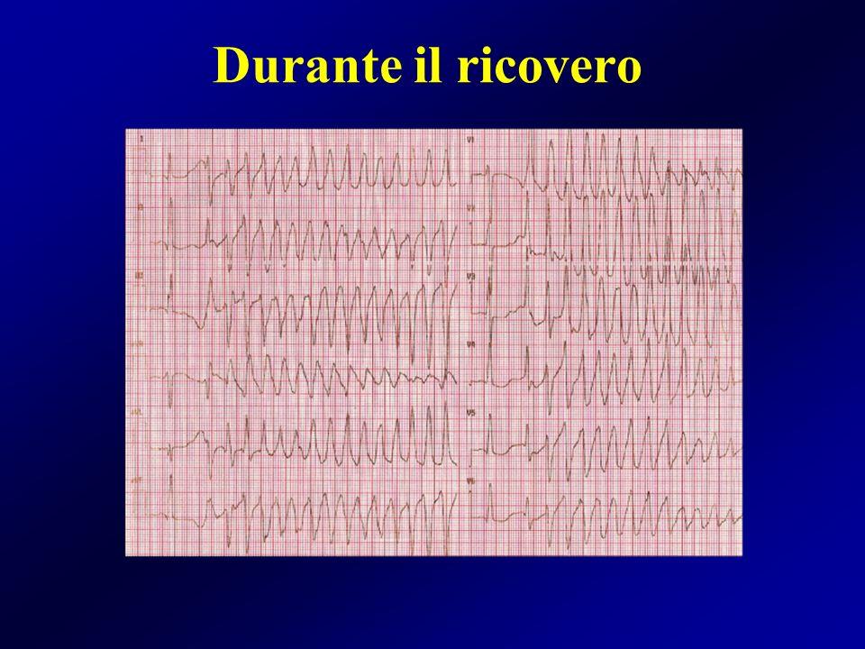 Esami effettuati durante la degenza Ecocardiogramma: FE=25%, DTD=66mm, IM 2+/4+, ASX =49 mm RMN cuore: FE=20%, DTD 62 mm Coronarografia: coronarie indenni Terapia alla dimissione: bisoprololo, ramipril, diuretico e acenocumarolo.