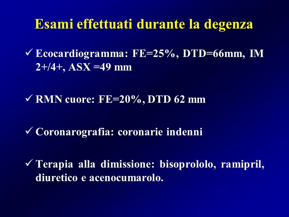 Esami effettuati durante la degenza Ecocardiogramma: FE=25%, DTD=66mm, IM 2+/4+, ASX =49 mm RMN cuore: FE=20%, DTD 62 mm Coronarografia: coronarie ind