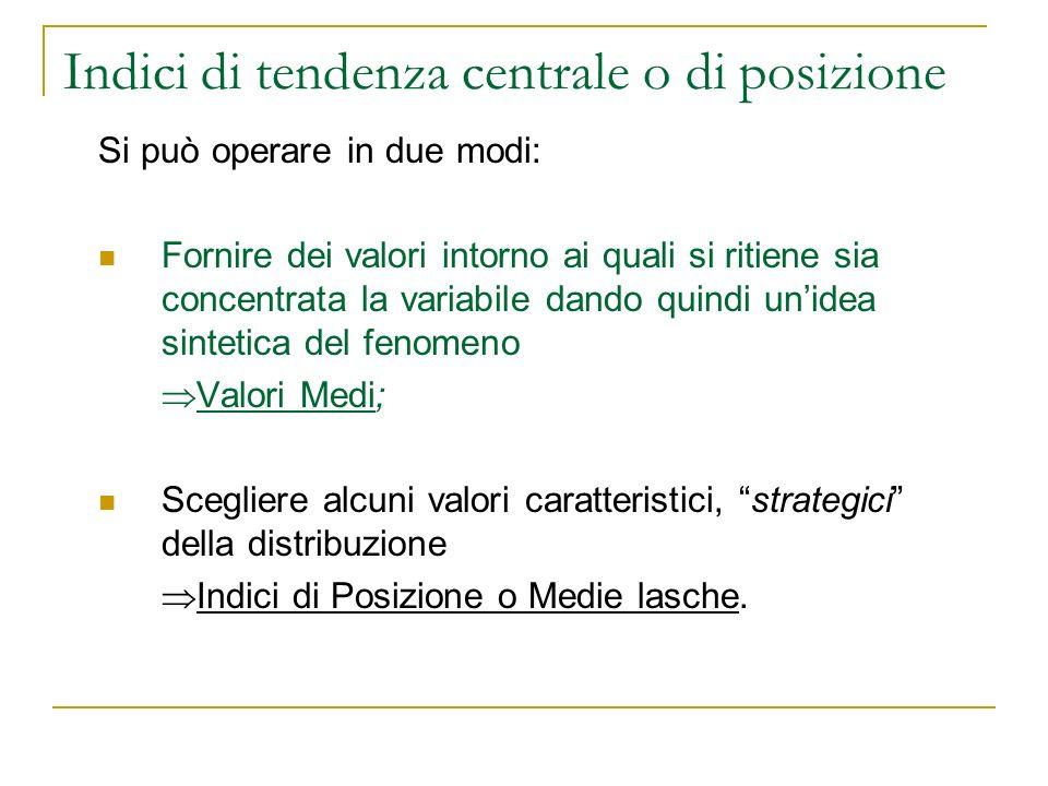 Indici di tendenza centrale o di posizione Si può operare in due modi: Fornire dei valori intorno ai quali si ritiene sia concentrata la variabile dan