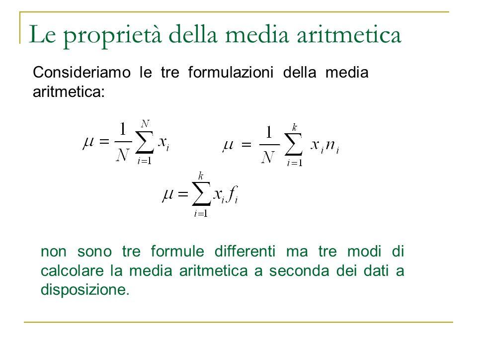 Le proprietà della media aritmetica Consideriamo le tre formulazioni della media aritmetica: non sono tre formule differenti ma tre modi di calcolare