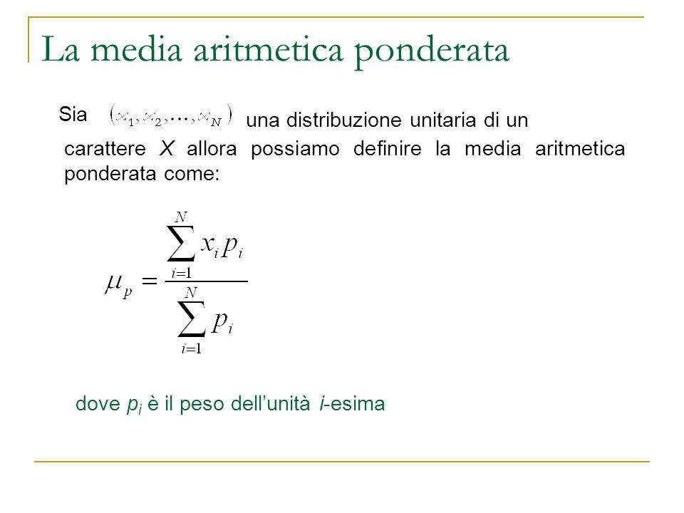 La media aritmetica ponderata dove p i è il peso dellunità i-esima Sia carattere X allora possiamo definire la media aritmetica ponderata come: una di