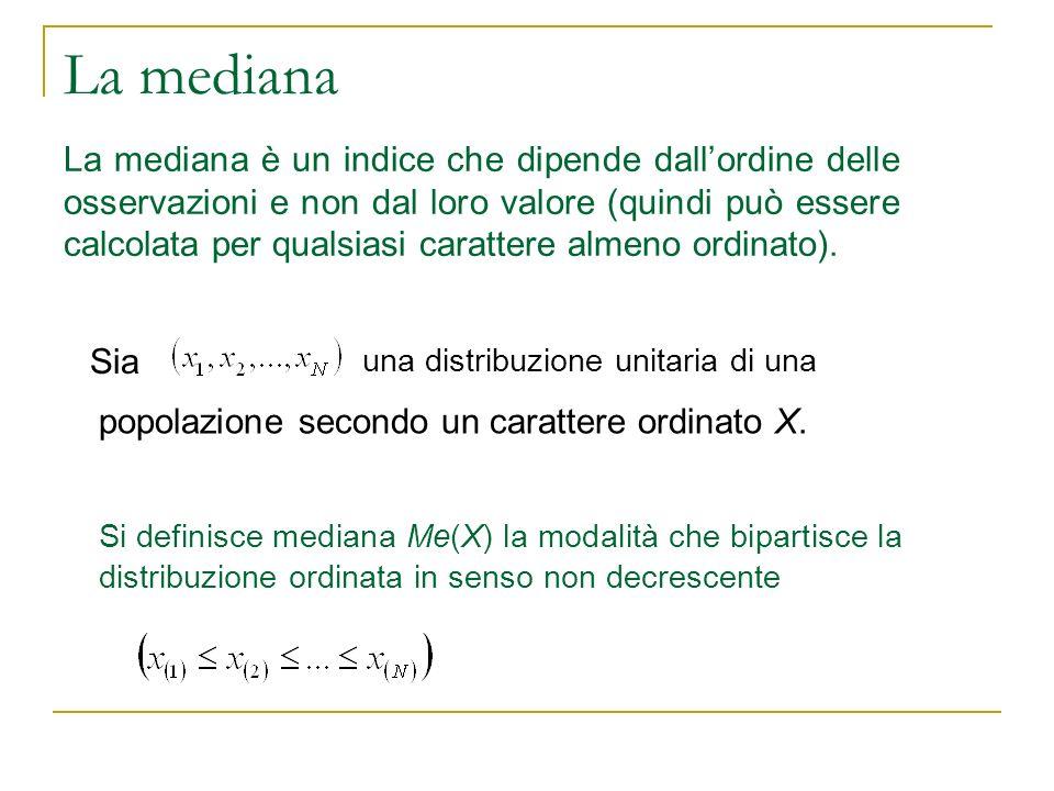 La mediana La mediana è un indice che dipende dallordine delle osservazioni e non dal loro valore (quindi può essere calcolata per qualsiasi carattere