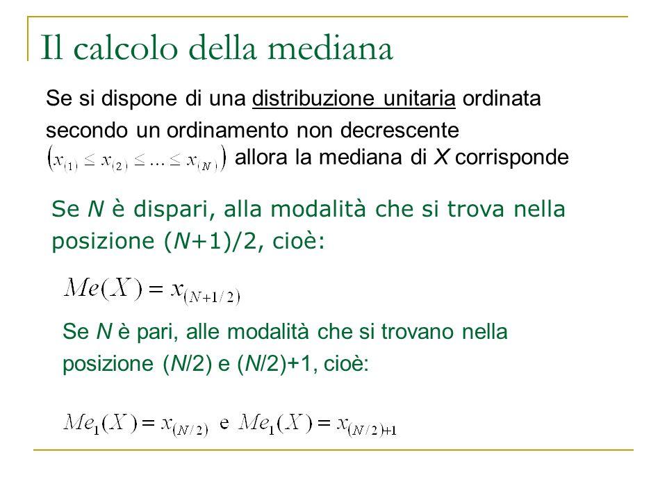 Il calcolo della mediana Se N è dispari, alla modalità che si trova nella posizione (N+1)/2, cioè: Se N è pari, alle modalità che si trovano nella pos