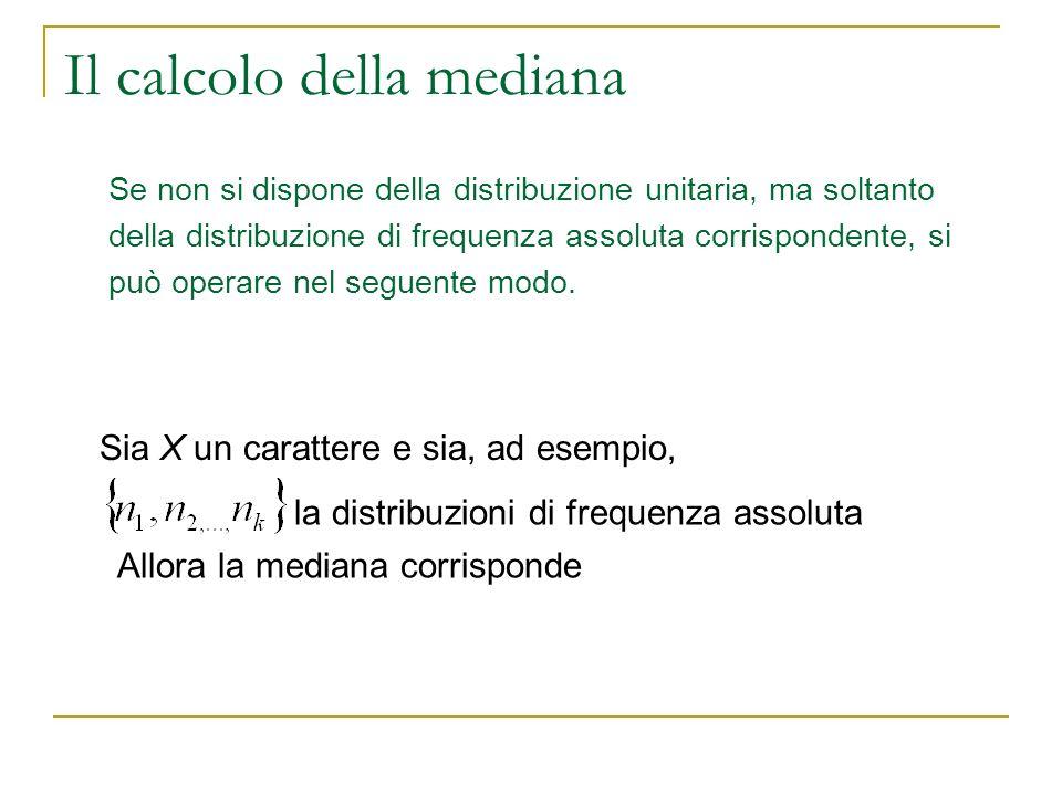 Il calcolo della mediana Se non si dispone della distribuzione unitaria, ma soltanto della distribuzione di frequenza assoluta corrispondente, si può