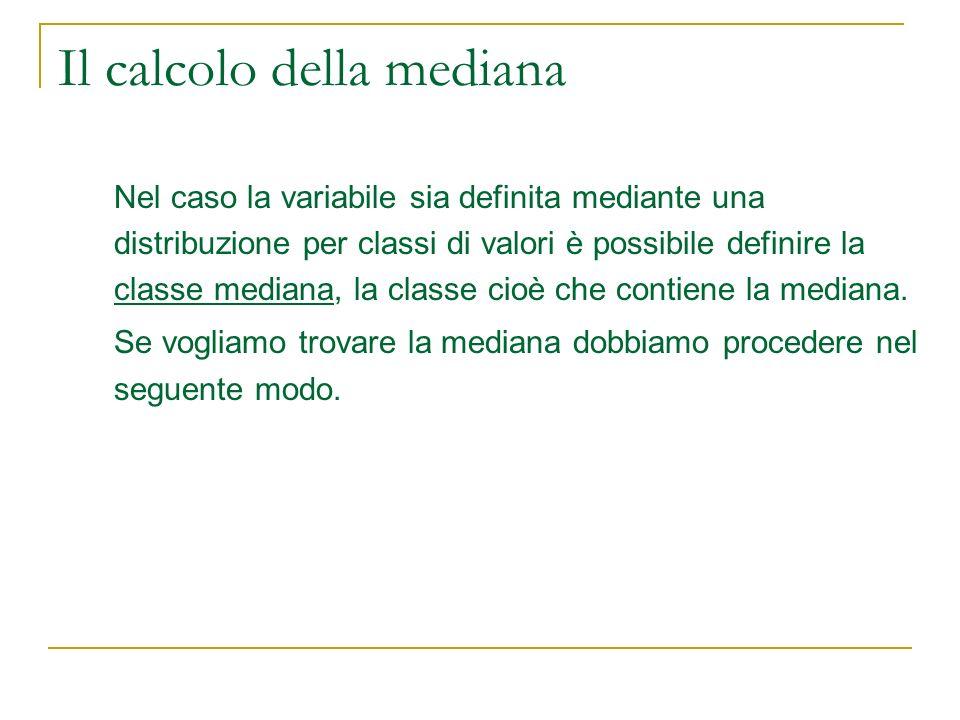 Il calcolo della mediana Nel caso la variabile sia definita mediante una distribuzione per classi di valori è possibile definire la classe mediana, la