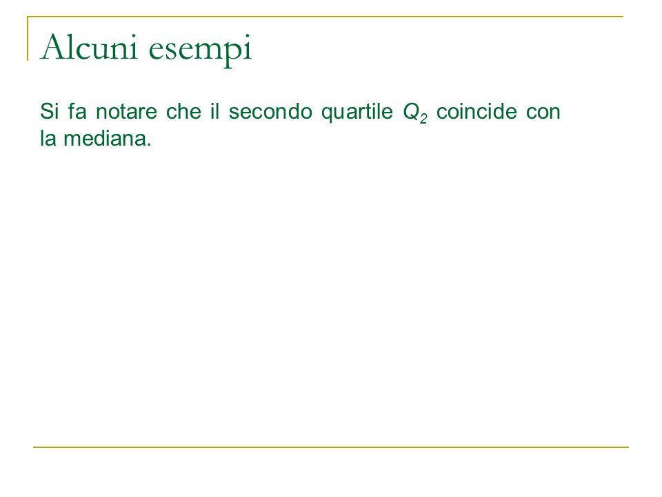 Alcuni esempi Si fa notare che il secondo quartile Q 2 coincide con la mediana.