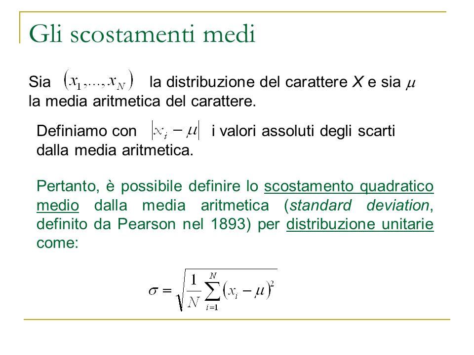 Gli scostamenti medi Sia la distribuzione del carattere X e sia la media aritmetica del carattere. Definiamo con i valori assoluti degli scarti dalla