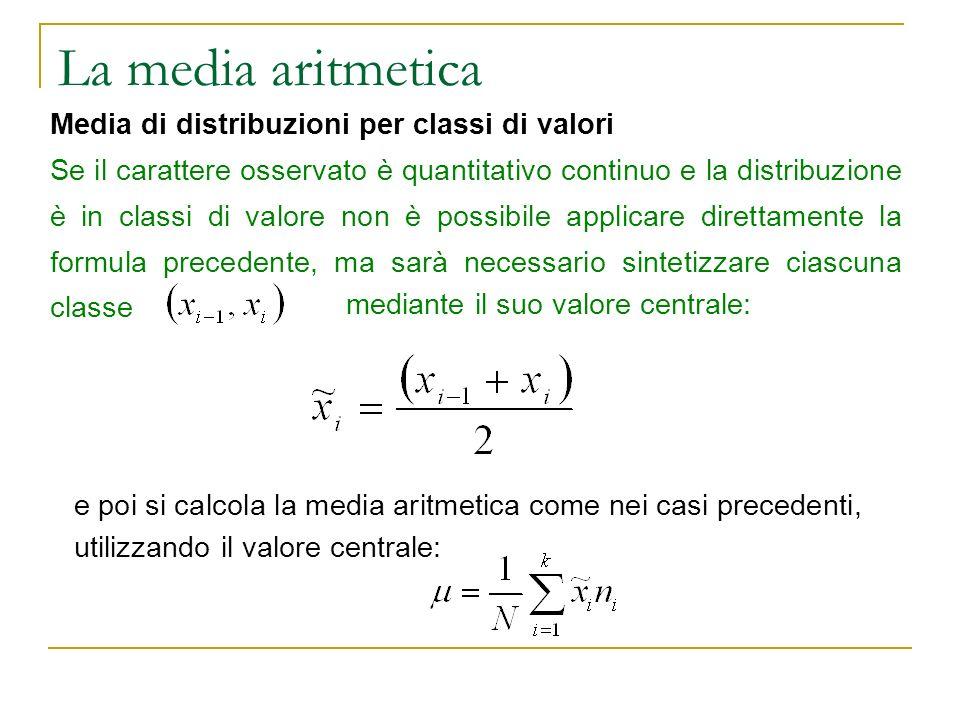 La media aritmetica e poi si calcola la media aritmetica come nei casi precedenti, utilizzando il valore centrale: Media di distribuzioni per classi d