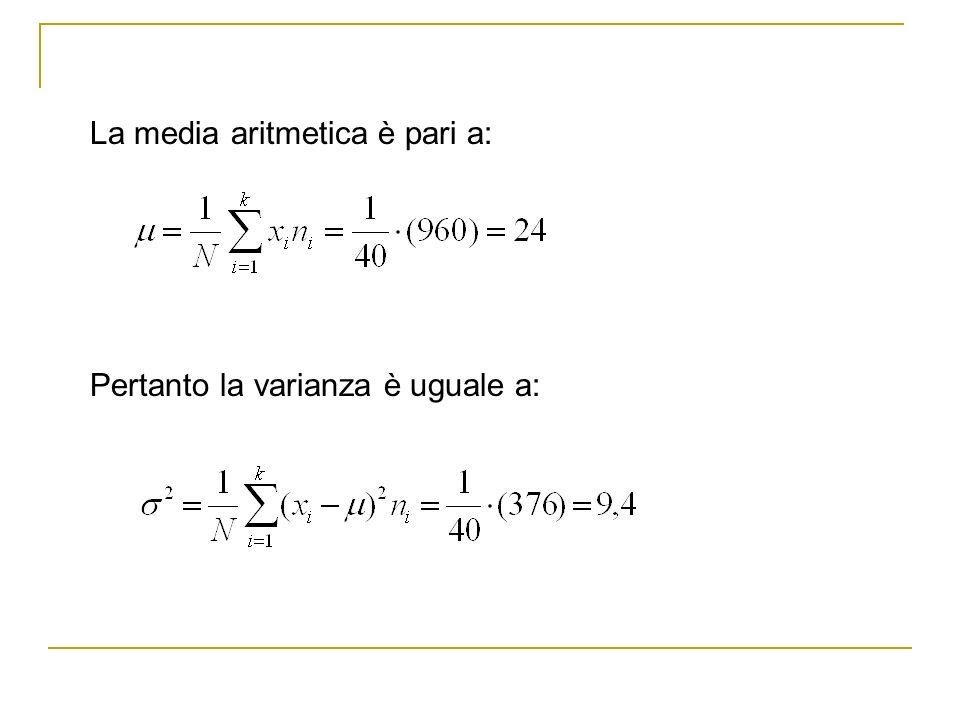 La media aritmetica è pari a: Pertanto la varianza è uguale a: