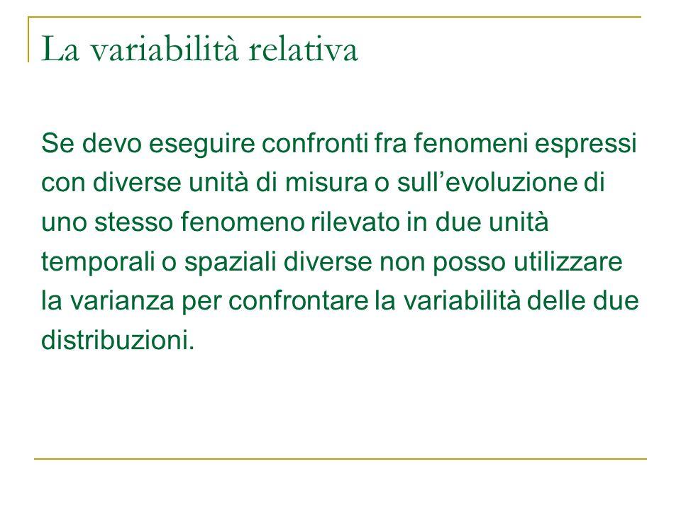 La variabilità relativa Se devo eseguire confronti fra fenomeni espressi con diverse unità di misura o sullevoluzione di uno stesso fenomeno rilevato