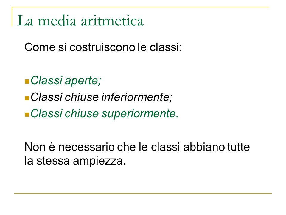 La media aritmetica Come si costruiscono le classi: Classi aperte; Classi chiuse inferiormente; Classi chiuse superiormente. Non è necessario che le c