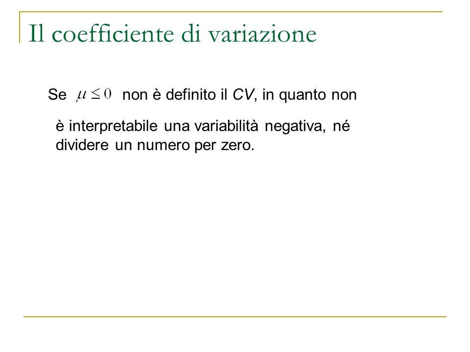 Il coefficiente di variazione Senon è definito il CV, in quanto non è interpretabile una variabilità negativa, né dividere un numero per zero.