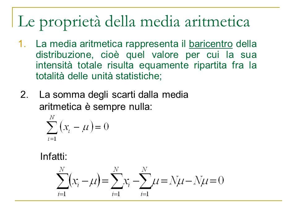 Le proprietà della media aritmetica 1.La media aritmetica rappresenta il baricentro della distribuzione, cioè quel valore per cui la sua intensità tot
