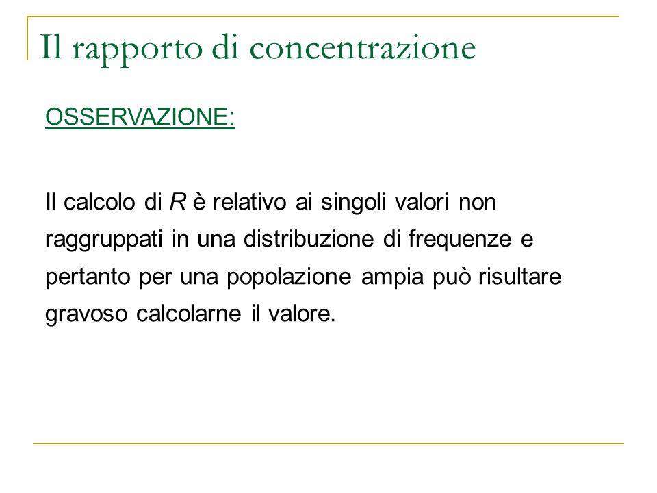 Il rapporto di concentrazione OSSERVAZIONE: Il calcolo di R è relativo ai singoli valori non raggruppati in una distribuzione di frequenze e pertanto